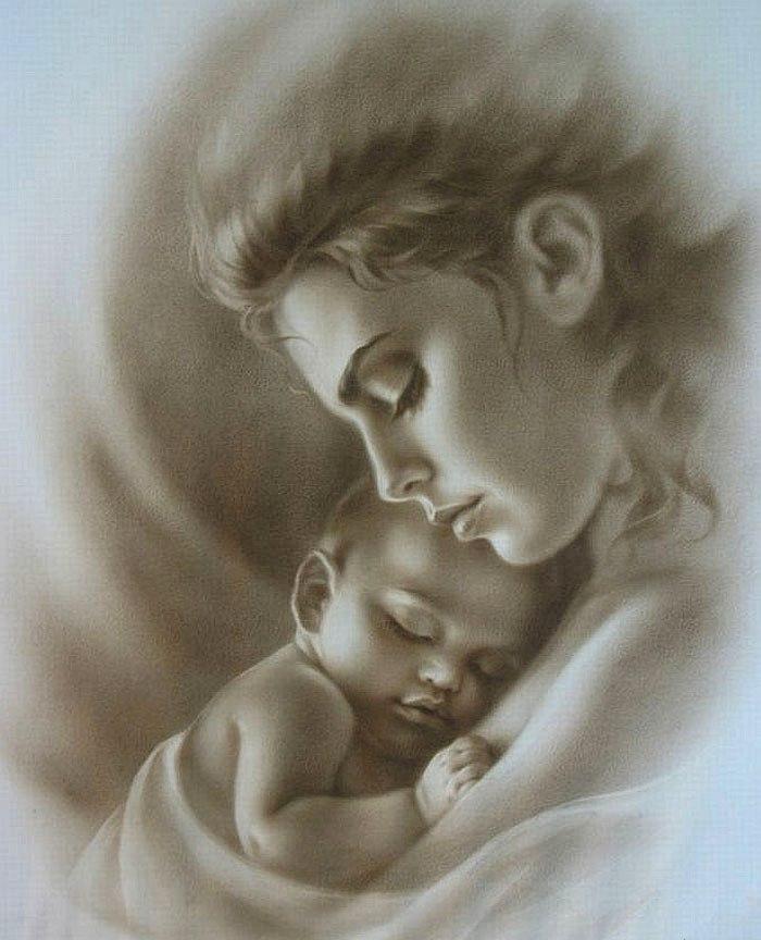 Мама с ребенком на руках картинки нарисованные детьми карандашом